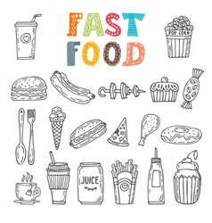 Hand drawn set of fast food collection of various vector