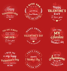 Set of happy valentines day labels and badges vector