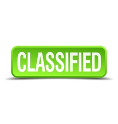 Classified green 3d realistic square isolated vector