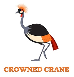 Crowned crane line art icon vector