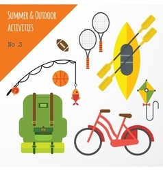 Summer outdoor activities sport equipment flat vector