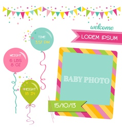 Baby girl arrival card vector
