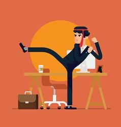Business Man Doing Karate vector image vector image