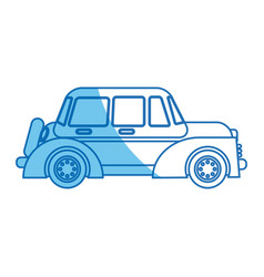 Car windows wheel transport blue line vector