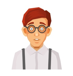 Cartoon style portrait of nerd with glasses and vector