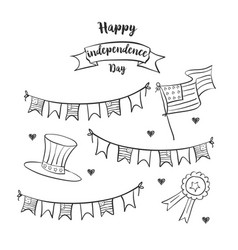 Celebration of independence day hand draw vector