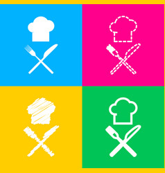 Chef with knife and fork sign four styles of icon vector