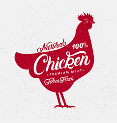 chicken silhouette and hand written lettering vector image
