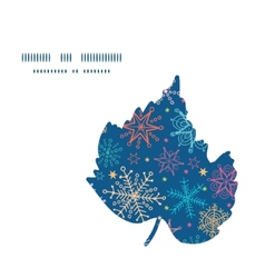 Colorful doodle snowflakes leaf silhouette pattern vector