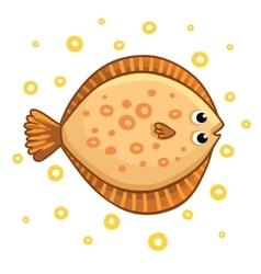 Cute cartoon flatfish isolated vector image vector image