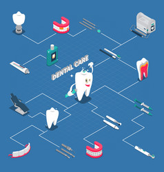Dental care isometric flowchart vector