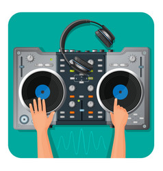 dj turntable modern headphones and human hands vector image