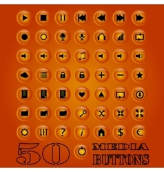 Fifty media Button set eps 10 vector image vector image