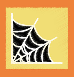 Flat shading style icon spider web vector