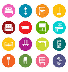 furniture icons many colors set vector image