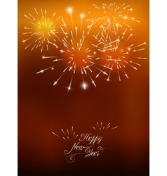 Happy New Year card with golden fireworks vector image vector image