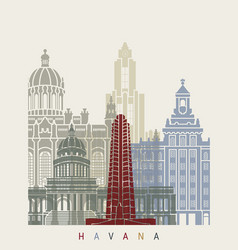 havana v2 skyline poster vector image vector image