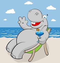 hippo on the beach vector image