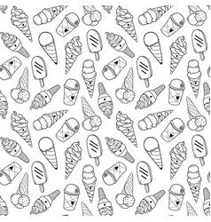 Ice cream pattern 4 monochrome vector