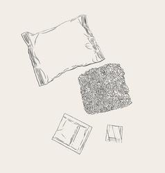 Instant noodles set sketch vector