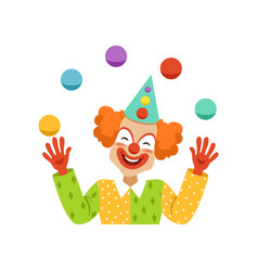 Juggling circus clown avatar of cartoon friendly vector