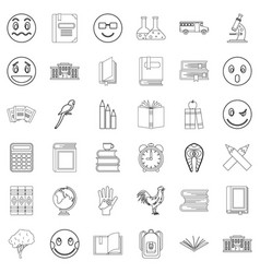 Microscope icons set outline style vector