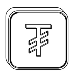 Monochrome square contour with currency symbol of vector