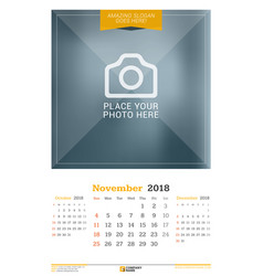 november 2018 wall calendar for 2018 year design vector image vector image