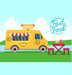 outdoor cafe with food truck and tables street vector image vector image