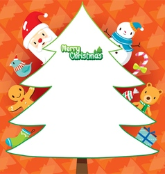 Santa And Christmas Tree On Orange Background vector image vector image