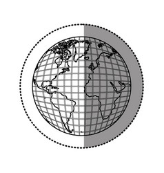 Silhouette earth planet map icon vector