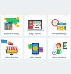 Six planning and online services concepts vector