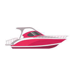 Speedboad yacht or sea cruise sailboat flat vector