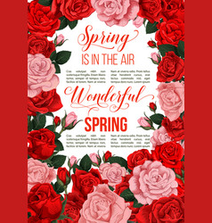 Springtime red flowers greeting card vector