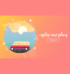 travel banner with a van vector image vector image
