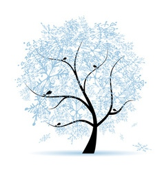 Winter tree snowflakes Christmas holiday vector image vector image