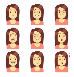 Woman girl face emotions expression avatar vector