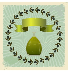 Vintage olive oil background vector image