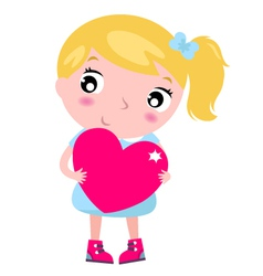 Cute blond little blond girl with pink heart vector
