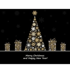 Christmas decoration with fir tree and gifts from vector