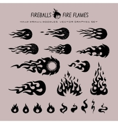 Fireballs and flame icons vector
