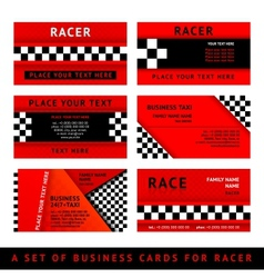 Business card driver race - third set vector image