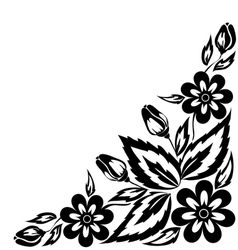 Black and white floral arrangement vector
