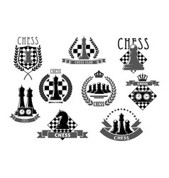 Chess club emblems and icons vector