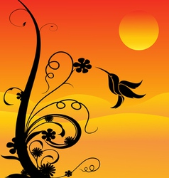 Humming bird and flowers vector