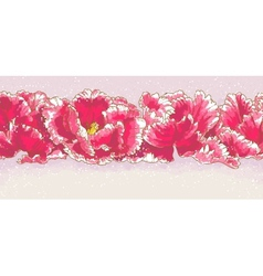 Background with three red tulips vector image