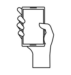 Hand human with smartphone device isolated icon vector