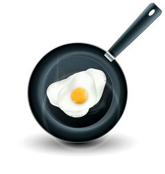 Frying pan with eggs isolated vector
