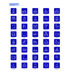 Linear city transportation icons collection vector