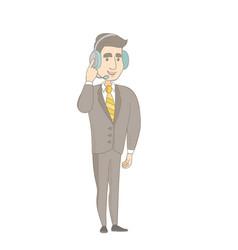 Caucasian customer service operator in headset vector
